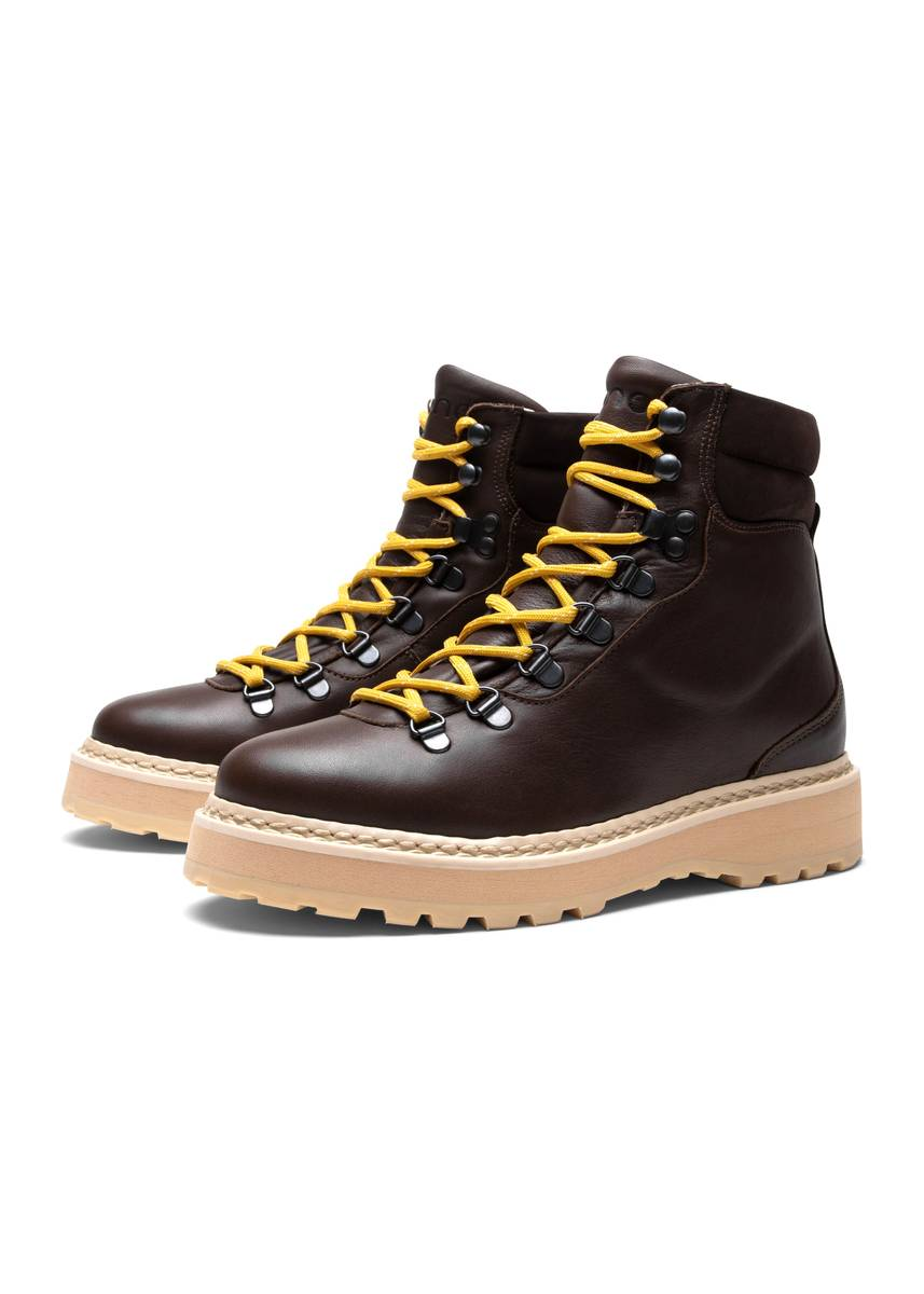 MONO - W Hiking Grained Leather Boots Chocolate